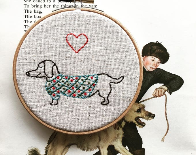 Featured listing image: hand embroidery kit | hand embroidery | modern embroidery kit | DIY embroidery kit | oscar wild sweaters | weiner dog kit