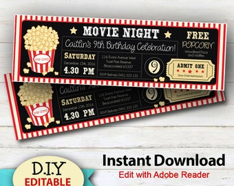 EDITABLE Instant Download Movie Party Invitations, Boy or girls Movie Party Ticket Invitation, Edit at home, Cinema Invitations