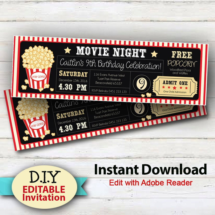 Editable instant download movie party invitations boy or for Editable ticket template free