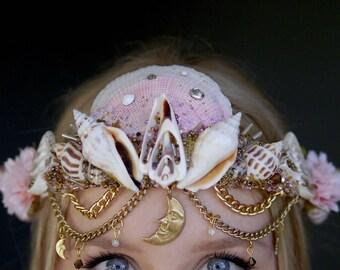 The CRESCENT MOON Mermaid Flower Crown / headband / headdress with Swarovski crystal details