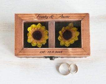 Sunflower Wedding Box Personalized Ring Box Ring Bearer Box Engraved Glass Wedding Box Proposal Box Еngagement Box Wedding Holder Ring Box