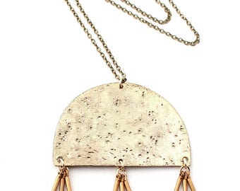 Oyo -- textured brass and triple fringe pendant necklace, boho, tribal, neutral, gold, modern, bohemian