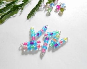 Multi Color 5Bead Glass Dangle Beads