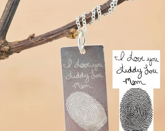Handwriting Necklace, Handwriting Jewelry, Fingerprint Necklace, Fingerprint Jewelry, Personalized Necklace, Bridesmaid, Engraved Jewelry
