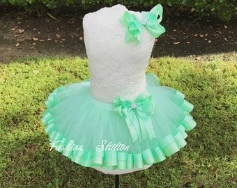 Mint Satin Ribbon Trimmed TuTu ~~~With Free Hair Bow  ~~27 Solid Colors available~~~