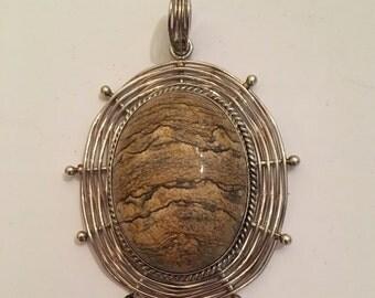Artisan Sterling Silver and Jasper Large Pendant