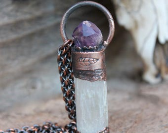 SELENiTE - AMETHYST CRYSTAL QUARTZ Necklace • Brazilian Stone • Chakra Balancing Stone • Electroformed • Unisex • Nature Inspired