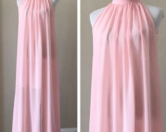 Vintage Light Pink Chiffon Peignoir Full Length Maxi Negligee Sleeveless Nightgown Women's Size Small