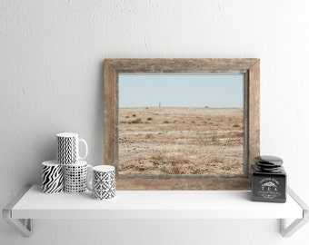BARREN | Minimalist art print | landscape photography | blue and brown | nature photo gift | rustic wall art | modern country home decor