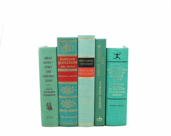 Green Book Decor, Aqua  Teal Decorative Books, Old Book Set, Antique Book Lover, Instant Library, BOoks for Decoration, Book Collection