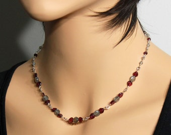 Garnet, Labradotite Necklace, Sterling Silver Wire Wrap, fine gemstone necklace, deep red, grey-green, elegant, bohemian, gift for her,3296