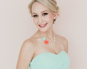 Light Mint and Coral Orange Roses in Asymmetrical Necklace. Free Pearl Earrings.
