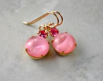 Pink Drop Earrings, Vintage Bead Earrings, Flirty Rhinestone Earrings, Pink Moonstone Jewelry, Glass Dangle Earrings, Pink Gifts, UK shop