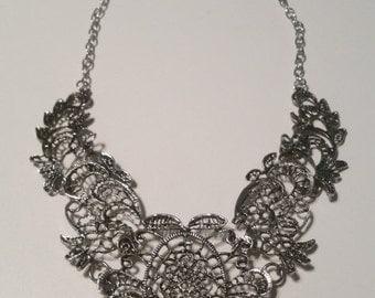 PEWTER-tone Wide Bib Statement Necklace