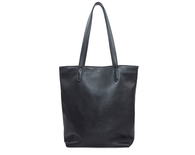 Large black leather bag, women tote bag, everyday shoulder bag