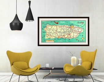 "PUERTO RICO map art print 10"" x 20"" map Puerto Rico art teal red map of San Juan Ponce Arecibo Caribbean map, Puerto Rico wall art"