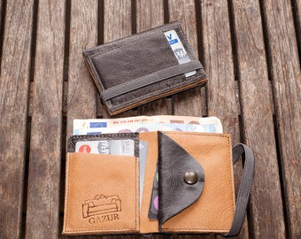 Leather Wallet, billfold wallet, Wallet With Coin Pocket, By Gazur