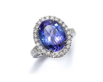 GIA certificated Tanzanite Halo engagement ring with Diamonds, made from 950 Platinum, Finland100 Years exhibition piece.