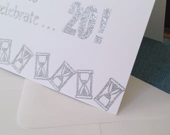 Personalized, Handmade, Number Card, SILVER GLITTER, ANNIVERSARY, Birthday Card, Embossed, White, Foldover, Card, Envelope