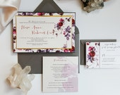 Burgundy Gold Wedding Invitation - Spring Romantic Wedding invitation suite {Aster design - Sku: AstLay01}