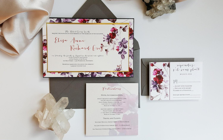Burgundy And Gold Wedding Invitations: Burgundy Gold Wedding Invitation Spring Romantic Wedding
