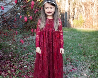 Sale & Ready to Ship Burgundy, Deep Red Sweetheart Dress- Flower Girl, Wedding, country, rustic dress, fall, winter, red, long sleeve, lace