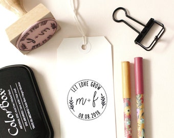 Let Love Grow Stamp, Wedding Favor Stamp, Camp Wedding Favor, Stamp Kit, Personalized Wedding Stamp, Floral, Wreath, Seed Favor Stamp