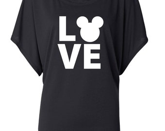 LOVE Mickey. Dolman Style Top. Oversize Fit T-Shirt. Slouchy Wideneck Top. Grey Shirt or Black