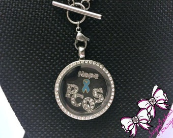 PCOS awareness - Rhinestone Necklace - Glass Locket - Charm Locket Necklace - Custom locket - Personalized Locket - Cervical Cancer Survivor