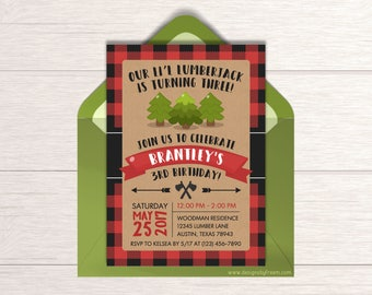 Lumberjack Invitation - Printable Boys Birthday Invite - Little Lumber Jack - Wilderness Party Package - First Birthday Party Ideas - BP33