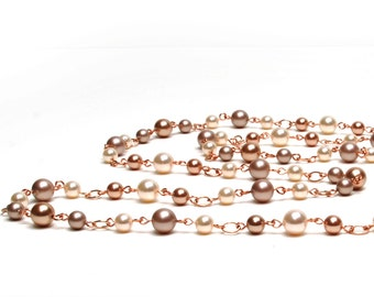 Long Pearl Necklace, Rose Gold - Cream Rose, Almond, and Rose Gold  Swarovski Crystal Pearl Necklace