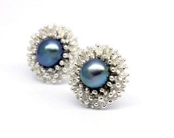 Peacock pearl stud earrings, Silver stud earrings, Handmade fine Jewellery, dainty pearl earrings, Pearl earrings, Stud earrings silver