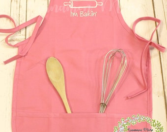 Personalized Kid's Apron / They See Me Rollin', I'm Bakin' Apron / Kid's Apron / Pink Apron / Rolling Pin Apron / Rolling Pin / Baking Apron