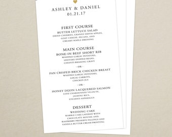 Wedding Reception Dinner Menu Card