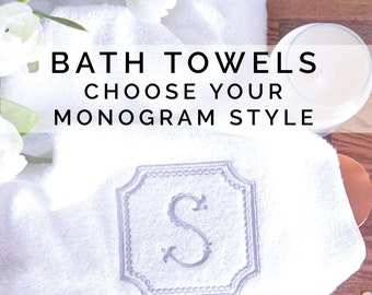 Bath Towels, Set of 2, Towel Set, Bathroom Towels, Guest Towels, Kids Bathroom, Monogram, Personalized Bath Towels, Wedding Gift Under 50