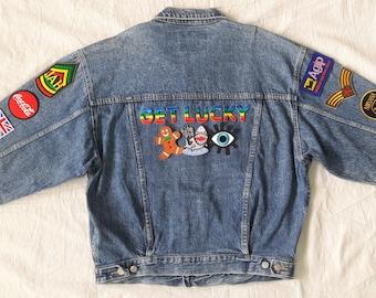 Get Lucky Denim Jacket / Reworked Vintage Denim Jacket with Patches / Patched Denim Jacket / Patched Jean Jacket Men Size L Unisex Adult