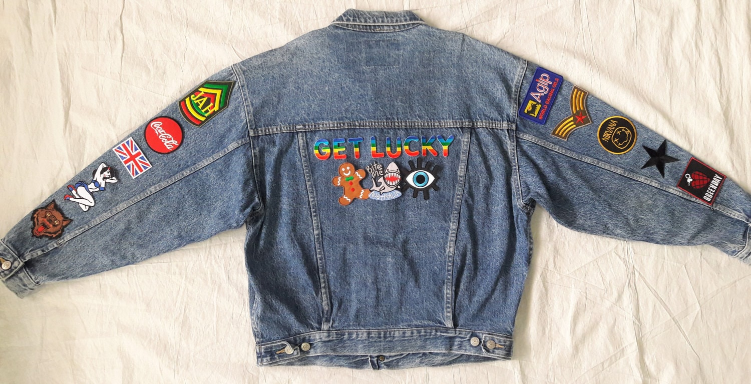 Get Lucky Denim Jacket / Reworked Vintage Denim Jacket With
