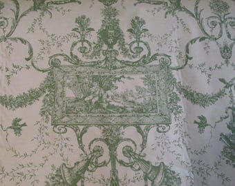 Lee Behren Green TOILE Fabric - BTY By the Yard Handprint English Cottage Country Garden