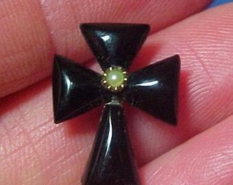 Antique Victorian Jet Cross, Mourning, Black Brooch