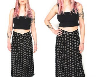 Vintage Flower Button Up Maxi Skirt - 90s Grunge Minimalist Daisy Print Long Skirt - 90s High Waist Black White Floral Polka Dot Maxi Skirt
