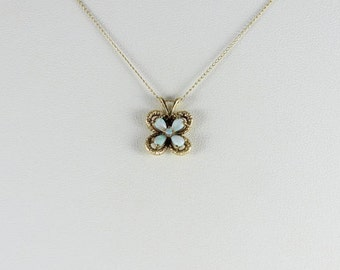 14k Yellow Gold Opal Flower Necklace 18 inch chain