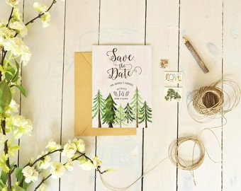Rustic Save the Date Cards - Woodsy Trees Wedding Save the Dates for a Country Wedding - Cherry