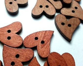 Lot of 20 small wooden heart buttons, decorative button with 2 holes, brown button, natural creative material, scrapbooking button.