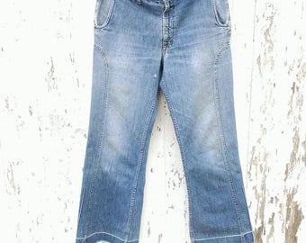70s LEVIS Bellbottom Jeans 33 Waist Orange Feather Tab