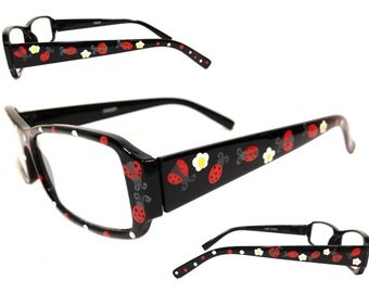 Women's 1.0 Strength Hand Painted Ladybug and Daisy Reading Glasses with Polka Dots