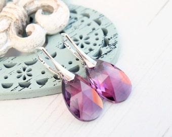 Sterling Silver Swarovski crystals earrings Emerald Swarovski jewellery Silver wedding bridesmaids earrings Green dangle teardrop earrings 1