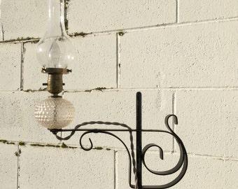 Wrought Iron Lamp, Adjustable Wrought Iron Lamp, Clear Hobnail Glass Lamp, Rare Ornate Lamp, Art Nouveau Lamp, Adjustable Bridge Arm Lamp