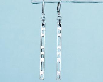 Silver bar earrings, long stick earrings, minimalist architectural gift, geometric earrings, pewter stud, stainless steel ear wire