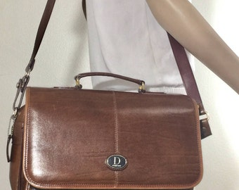 Brown Faux Leather Satchel, Brown Shoulder Bag, Top Handle