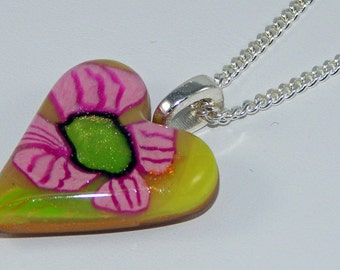 REDUCED PRICE - Heart Necklace. Polymer Clay Necklace. Polymer Clay Heart. Sculpey. Fimo.